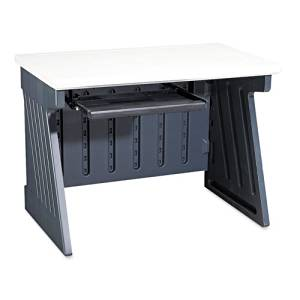 """Iceberg - SnapEase 42"""" Computer Desk, Resin, 42w x 24-1/2d. Charcoal/Silver - Sold As 1 Each - Blow-molded, high-density polyethylene is lightweight and resists chips, scratches and dents."""
