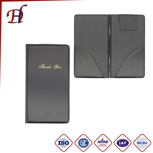 Custom Hot Stamping Logo PU Leather PVC hotel Bill Folders and Coffee Restaurant Receipt holder