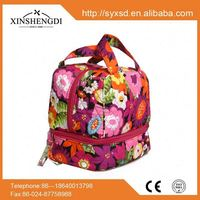Top quality cotton candy quilted unique zip fashion lunch bag women