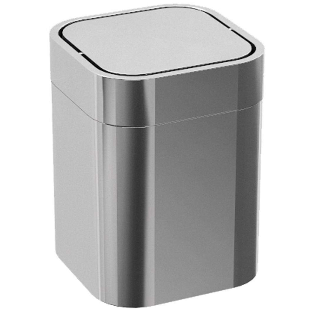 390c5f9569c Get Quotations · LB Bath Collection LB Steel Square Extra Small Countertop Wastebasket  Trash Can Swing Lid Chrome