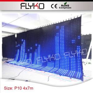 Dj equipment 4m x 7m video display led lighting P10 video screen remote control video curtain
