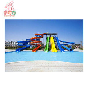 2018 water theme park equipment commercial kids adult big fiberglass plastic water slide for sale