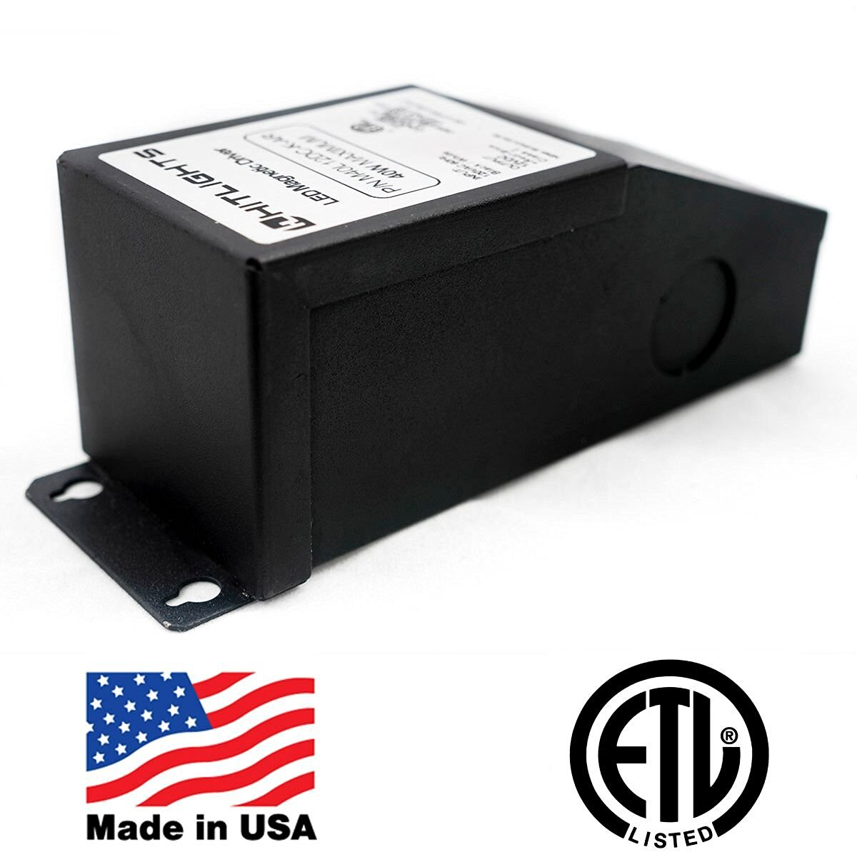 HitLights 40 Watt Dimmable LED Driver, 12V Magnetic LED Driver Transformer – 110V AC – 12V DC LED Transformer. Compatible with Lutron and Leviton for LED Strip Lights, Constant Voltage LED Products