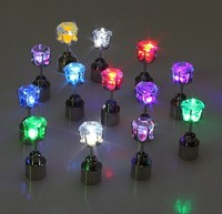 Led Studs Earrings Accessories for Party/Diamond Stainless LED Light up Flashing Ear Stud for Party