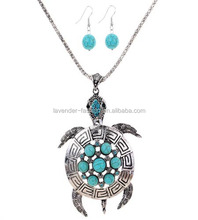 Fashion turquoise Necklace Chain Jewelry Set tortoise pendant cheap necklace and earring sets