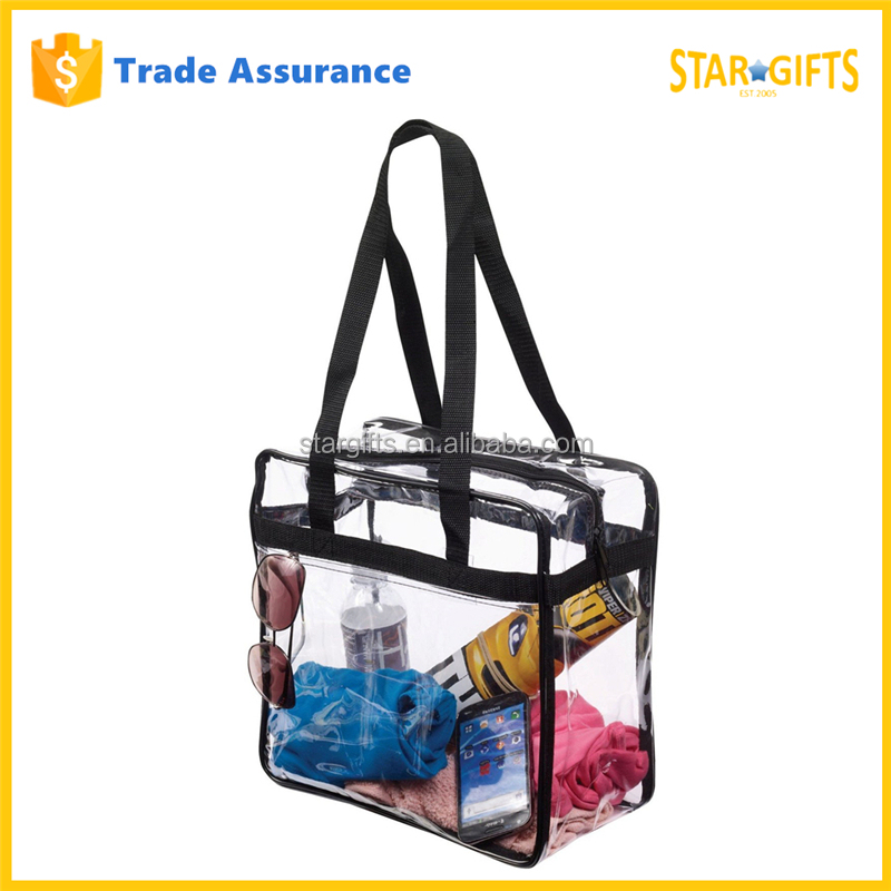 Custom Black Zipper Clear Stadium PVC Shopping Tote Bag With Side Pocket