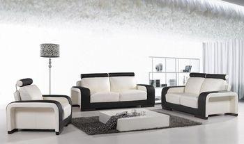 Leren Bank Wit.Italiaanse Designer Lederen 3 Delige Wit Zwart Sofa Bank Suite