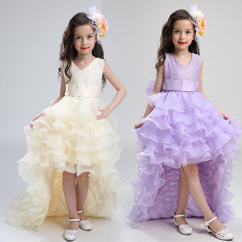 bac9c7114d84 Kids Fashion Wear Lace Girl Long Floor Length Wedding Party Kids Girls  Evening Dress LS003TW