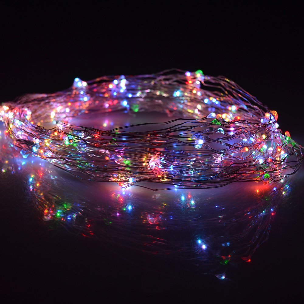 get quotations lightsetc 5 modes multi color copper wire lights 328ft 100 led 5v usb copper rope