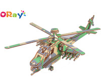 Oray 3D Puzzle Wooden DIY Toy For Kids DIY Airplane--Apache