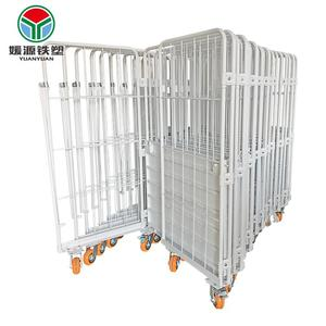 3 sided wire mesh pallet steel warehouse mobile cage foldable roll container metal storage cages with wheels