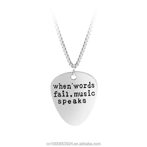 best selling products 2017 in usa custom engrave When Words Fail Music Speaks Silver plated Guitar Pick necklace
