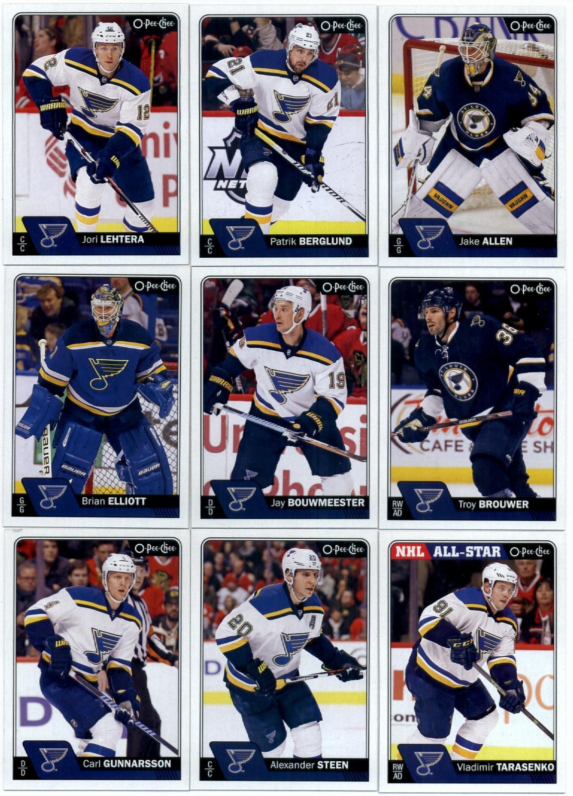 2016-17 O-Pee-Chee Hockey St. Louis Blues Team Set of 20 Cards SEALED in Protective Snap Case: Jake Allen(#47), Patrik Berglund(#86), Jori Lehtera(#130), Troy Brouwer(#139), Jay Bouwmeester(#159), Brian Elliott(#177), Vladimir Tarasenko(#236), Alexander Steen(#258), Carl Gunnarsson(#294), Scottie