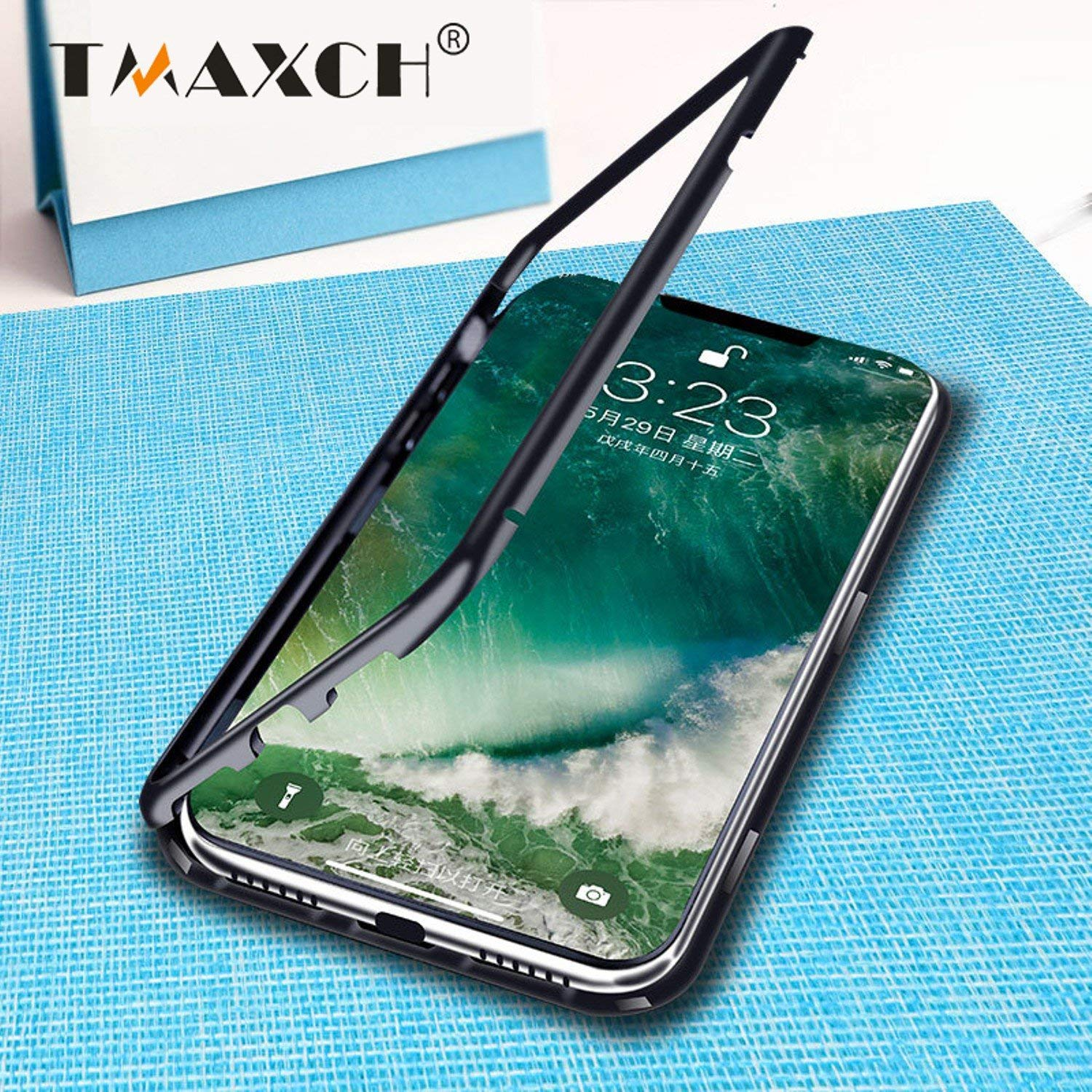 Luxury Magnetic Adsorption Case for IPhone X 8 7 Plus Clear Tempered Glass Case 360 Full Protection Metal Magnet Flip Cover 2018 New (Black, For iphone 7 Plus)