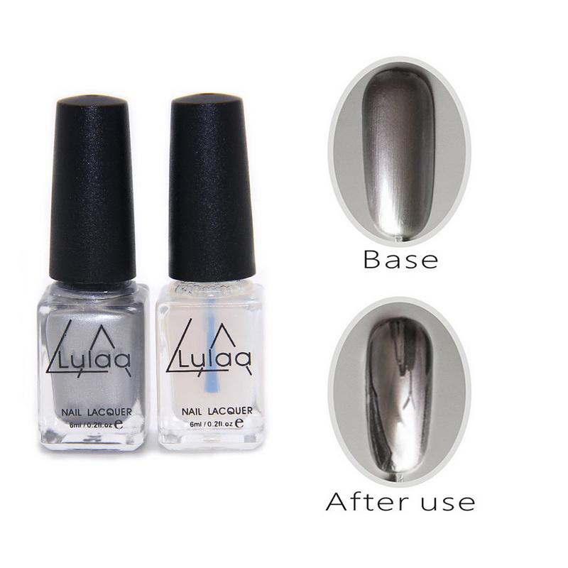 Metallic Nail Varnish Sets: Aliexpress.com : Buy 2pc/set 6ml Silver Mirror Effect