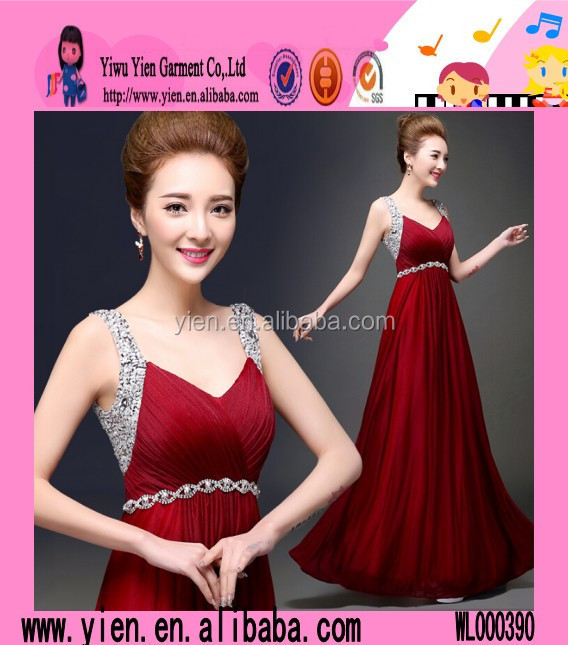 2015 Floor Length Sexy Ladies Backless Dress Fashion Alibaba Hot Sale Wine Red Evening Dress Korean Style