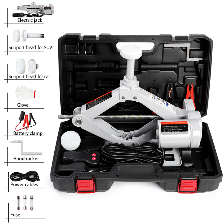High Quality CE ISO Professional Portable 3T 12V Durable Electric Screw Scissor Car Jack and Electric Impact Wrench for OEM