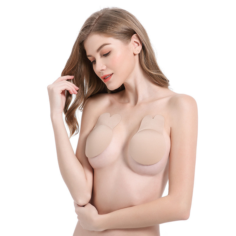 15 centimetri EF Dell'orecchio di Coniglio Autoadesivo Push Up Bras Donne Appiccicoso Senza Spalline In Silicone Invisibile Backless Patè di Sollevamento Nipple Covers