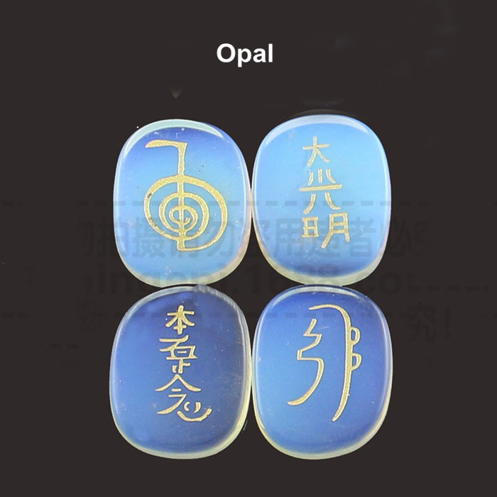 Engraved Inspirational Symbol Healing Reiki Natural Opal Palm Stone