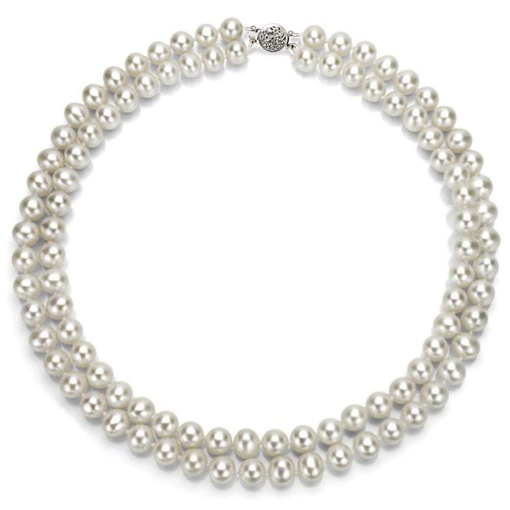 La Regis Jewelry 14k White Gold 2-rows AAA Hand-picked White Akoya Cultured Pearl Round-clasp Necklace, 17""