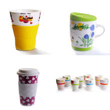 wholesale promotional ceramic coffee mug with lid with custom logo design