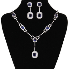 Luxury Silver Plated Sapphire Blue AAA Cubic Zirconia Women's Party Necklace Earrings Jewelry Sets for Wedding