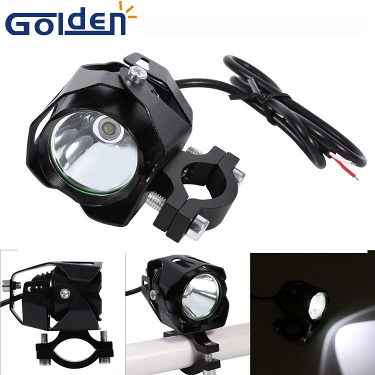 New T6 Fog Lamp Spot Light Motorcycle LED Driving Headlight with Lampshade Black