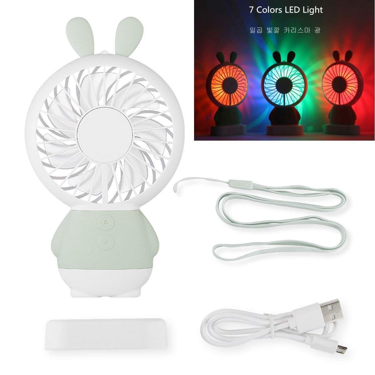 Cute Portable Handheld Fan,Starfly Personal Fan for Travel Home Office USB Rechargeable Battery Mini Fan 7 Colorful LED Light 2 Switch 2 Speeds Adjustable (Green Rabbit)