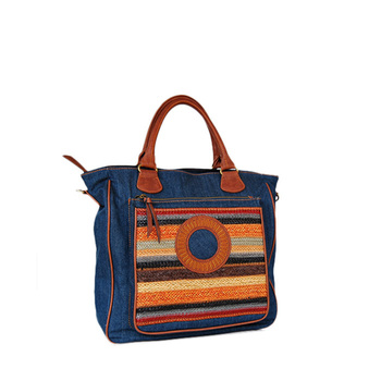 233f58abab00 Nautical Wholesale Leather Handles Canvas Bag Plain Print Knitting ...