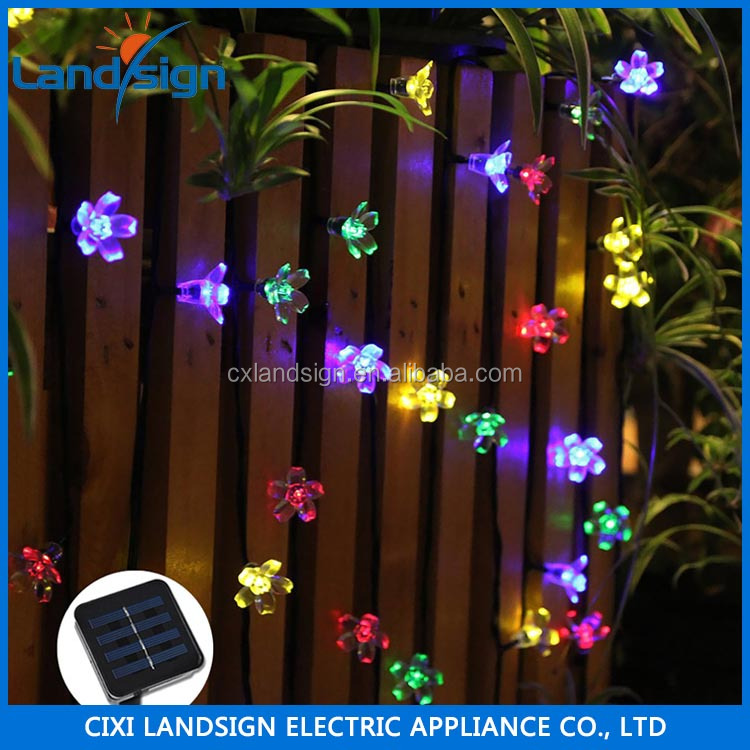 hot sale solar flower string light for garden wedding party holiday XLTD-116 decorative artificial flower with light