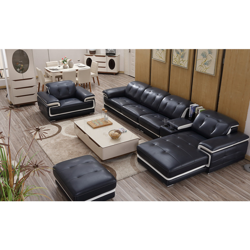 Black Leather Modular Corner Sofa Set 7 Seater Modern - Buy Black ...