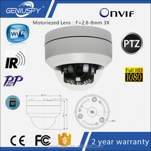 IP66 Vandalproof 2.8-8mm 3X Lens ONVIF P2P Night Vision 1080P SD Card Slot Recording IR Wireless Wifi IP Mini Speed Dome Camera