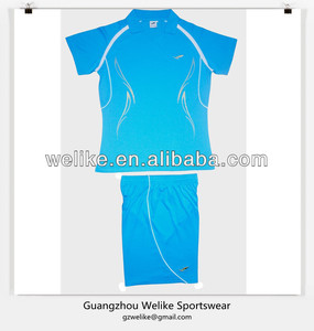 2014 women slim fit soccer uniform sky blue jersey and shorts cheap high quality polo shirt