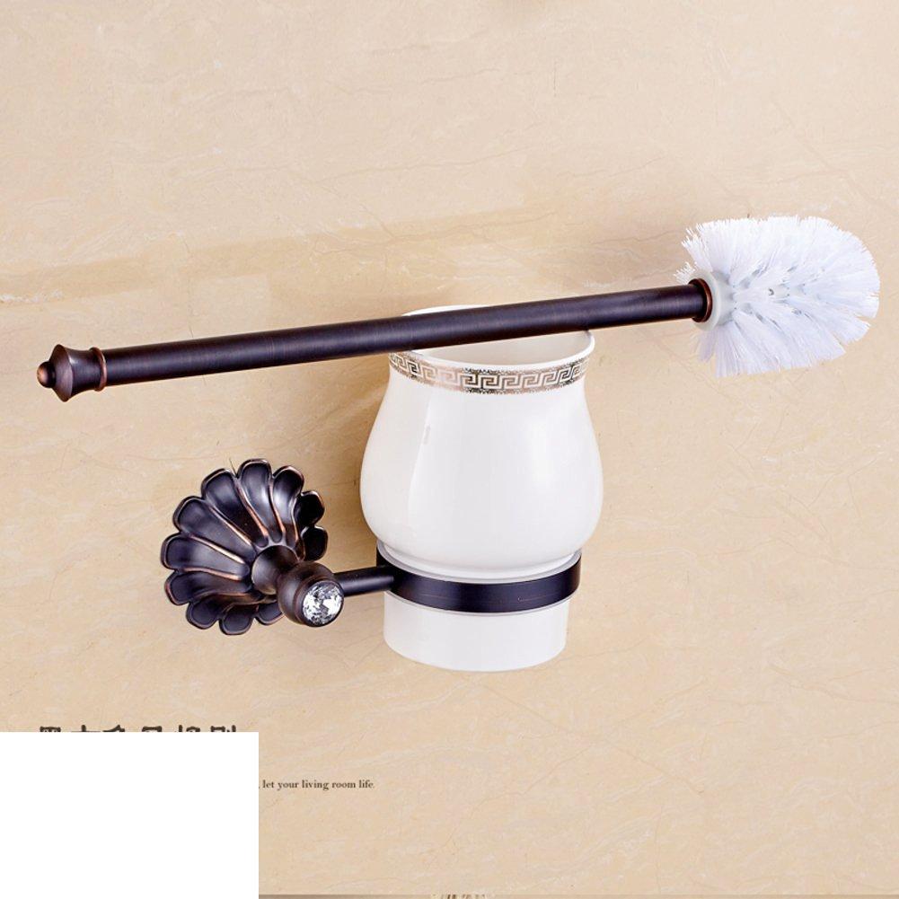 All copper metal pendant wall-mounted/European retro black bronze toilet brush holder suit/Black antique gilded toilet brush-B