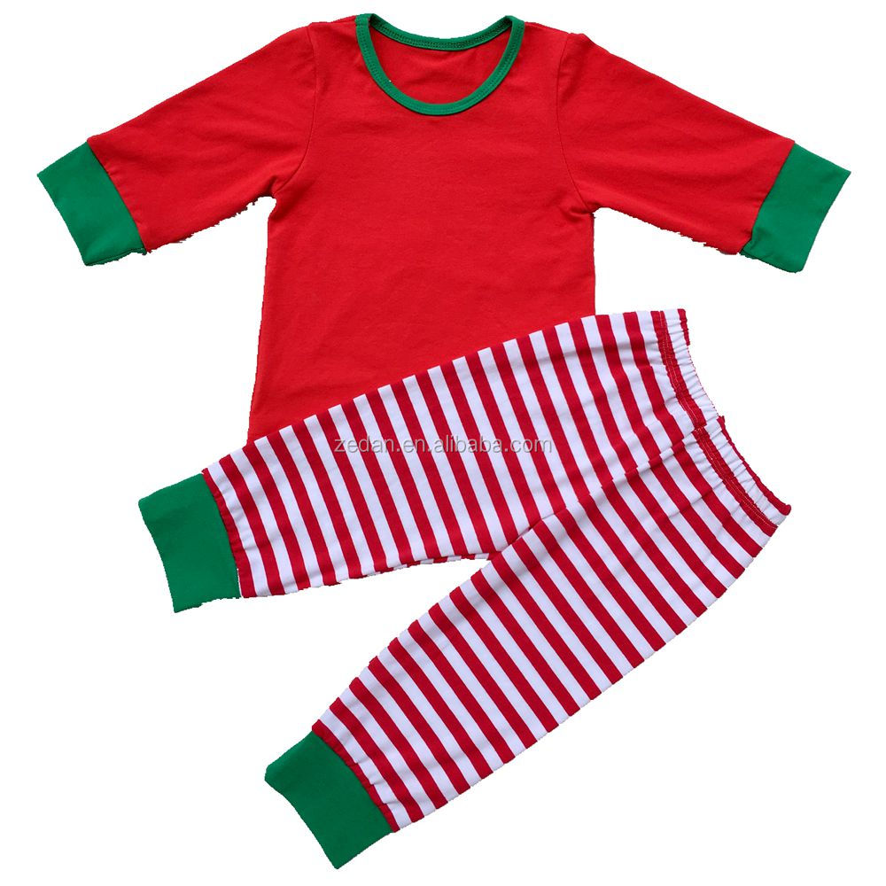 fashion christmas unisex red white strap long sleeve top and long panty fit 0-10years