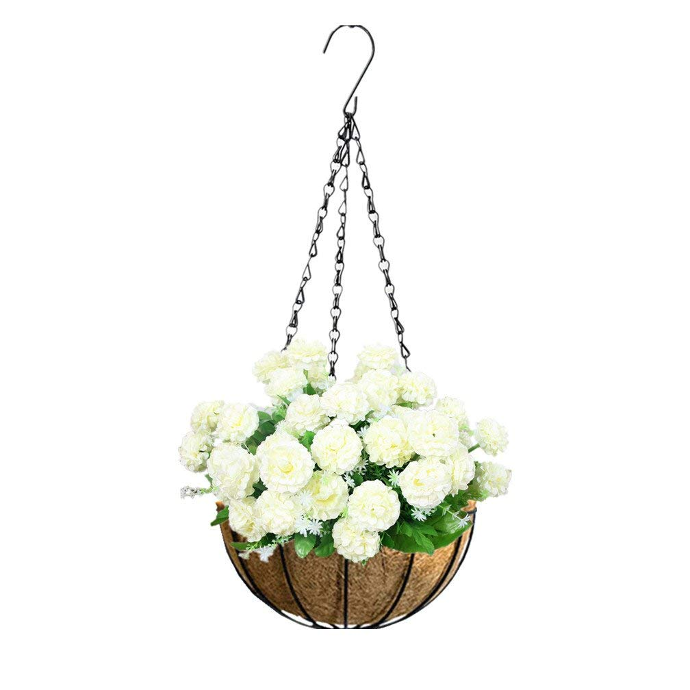 Mynse Hanging Basket with Chain for Plants Artificial Home Lawn Balcony Indoor Decoration Hanging Flowerpot Artificial Flower Hydrangea White (Big Basket)