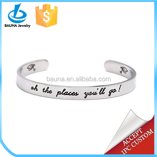 The Places You Will Go Graduation Cuff Bangle Bracelet