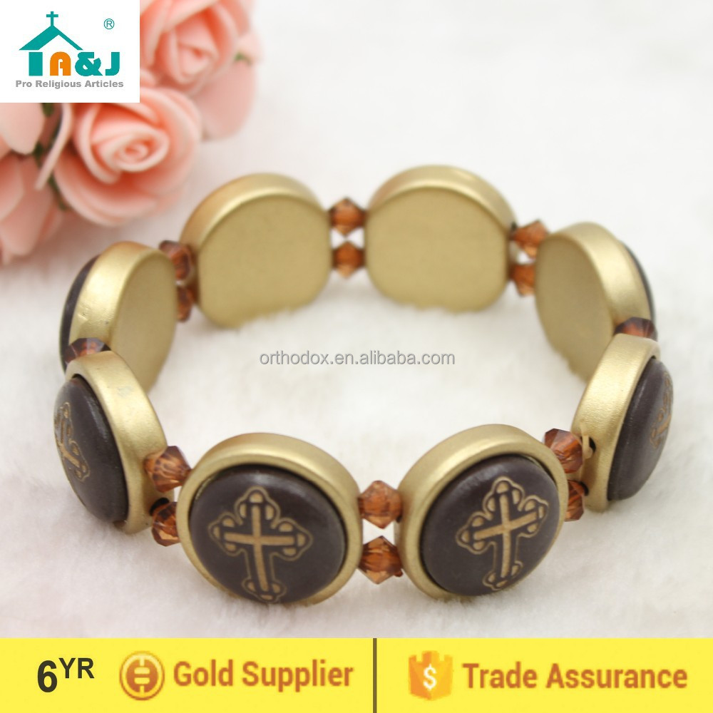 Plastic bracelet with cross pictures