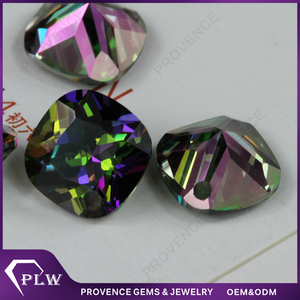 Rainbow Color Cushion cut Loose Cubic Zirconia stone with hole drilled for Pendants