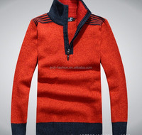 2015 hig quality classy fall winter half zip up mens polo high collar sweaters