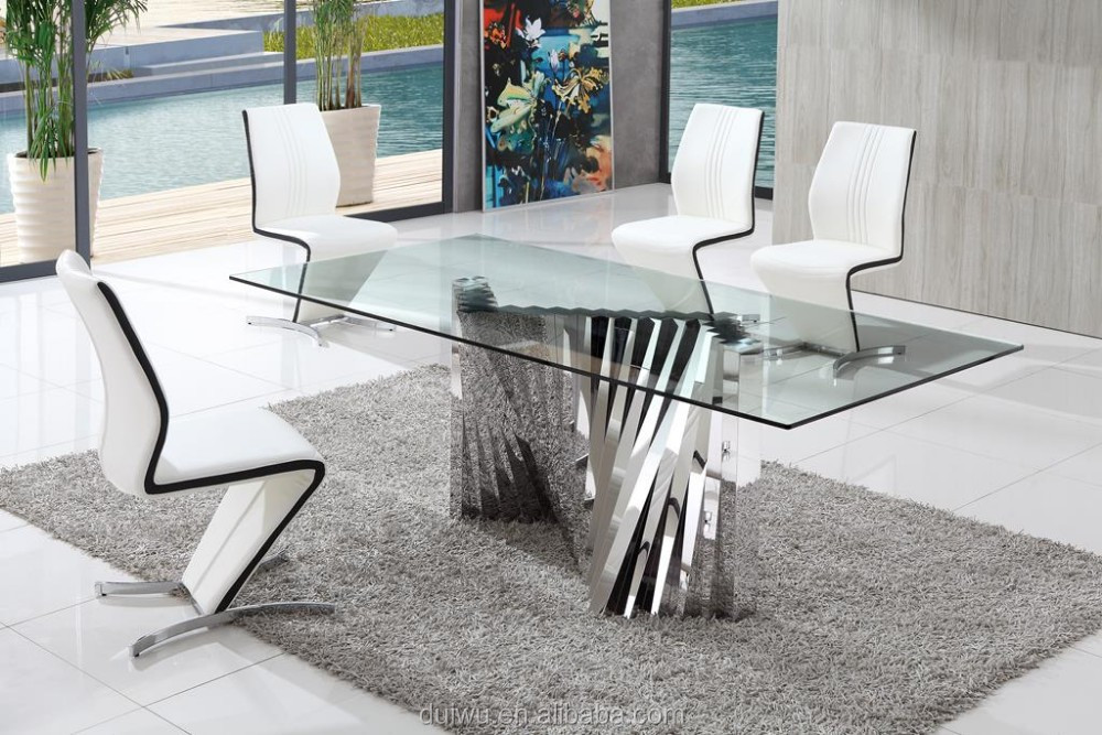 Moderne eetkamer meubels duitse stijl clear gehard glas eettafel