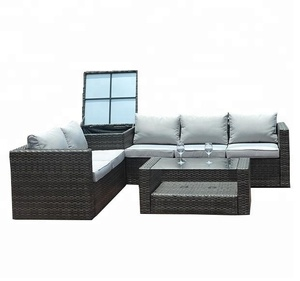 5 Seater Outdoor Patio Furniture Garden L Shaped Sofa with Corner Table