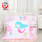 Microfiber baby bedding mermaid princess printed mini crib bedding set for girls