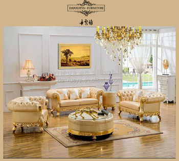 Top Antique Wood Frame And Genuine Leather Sofa Set