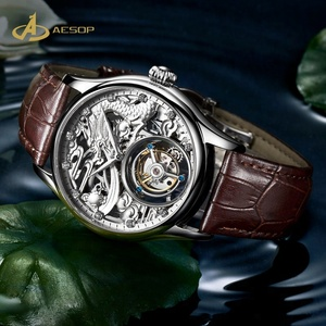 Aesop High Quality custom Genuine Leather strap dragon 3d hollow luxury Brand Men flying Mechanical Tourbillon Watch