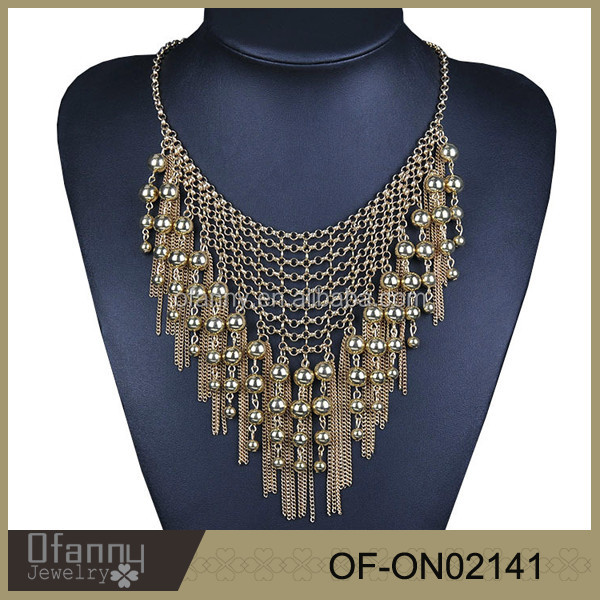 High chain tassel necklace, multi layer neckace, 18 gold jeweley