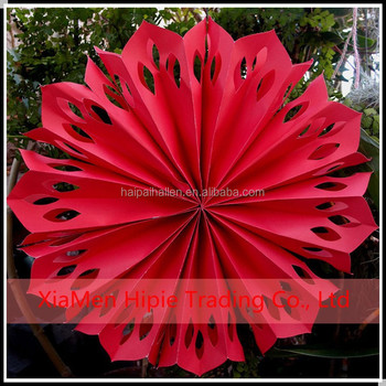 Hot Sale 12 Red Pinwheel Paper Flower Fans Birthday Stage Hanging
