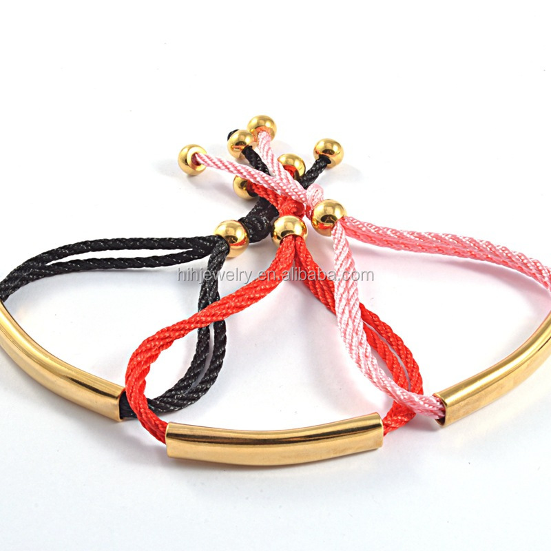 Fashion id bracelets string stainless steel blank metal for engraving rope bracelet