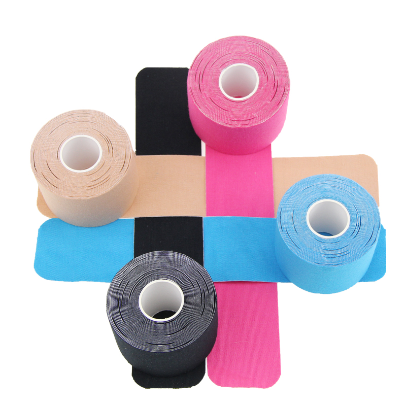 High quality AUPCON hypoallergenic multicolor 5.0cm*5m high density precut kinesiology therapeutic tape use for sports, 12 colors