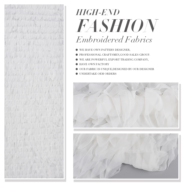 Best quality soft pancy white party dress chiffon fabric with embroidery design